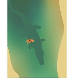 Small boat swimming above giant crocodile vector