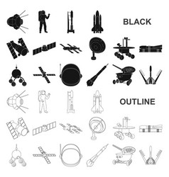 space technology black icons in set collection for vector image