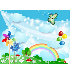 Spring background with pinwheels and butterfly vector