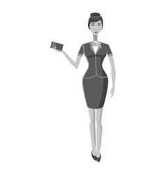 Stewardess icon gray monochrome style vector