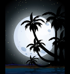 Summer night scene silhouette vector