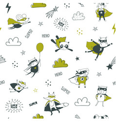 superheroes seamless pattern for kids cartoon vector image