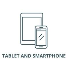 tablet and smartphone line icon linear vector image