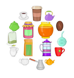 tea and coffee set cartoon style vector image