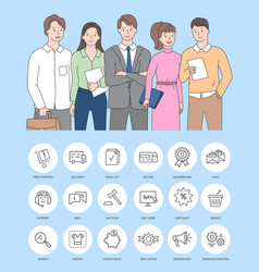Team business workers entrepreneurs icons vector