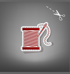 thread with needle sign red vector image