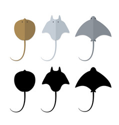 Top view stingray in flat and silhouette style vector