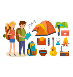 tourists engaged in hiking camping vector image