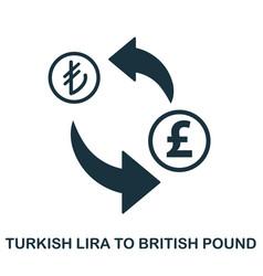 turkish lira to british pound icon mobile app vector image
