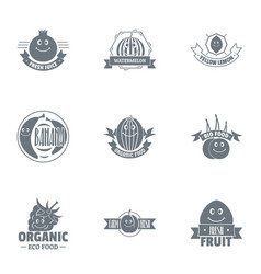 Vegan foodstuff logo set simple style vector