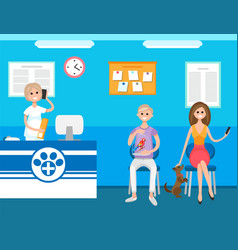 Veterinary clinic reception and waiting people vector