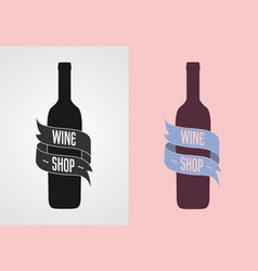 wine shop logo badge label concept gray vector image vector image