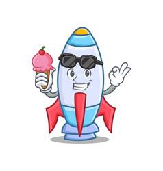 With ice cream cute rocket character cartoon vector