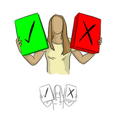 woman holding green check box and the red cross vector image