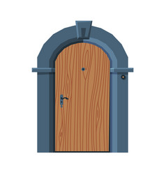Wooden arched door in vintage style architactural vector