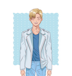 Young blond boy hentai style character vector