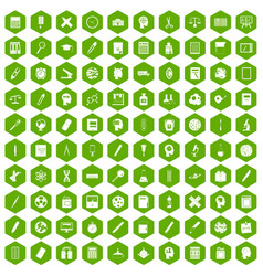 100 learning icons hexagon green vector image vector image