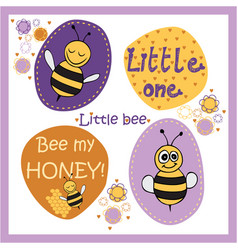 bee stickers vector image vector image