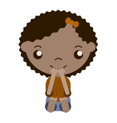 cartoon girl with brown hair vector image