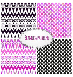 geometric tribal aztec hand drawn background set vector image vector image