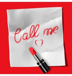 Lipstick and inscription Call me vector image vector image