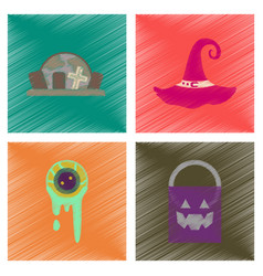 Assembly flat shading style icons halloween zombie vector