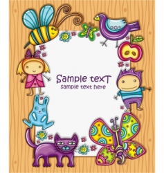 children cartoon frame vector image vector image