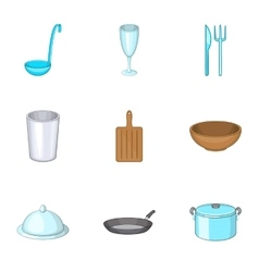 Dishes icons set cartoon style vector image vector image