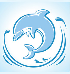 dolphin jumping in water waves isolated on white vector image