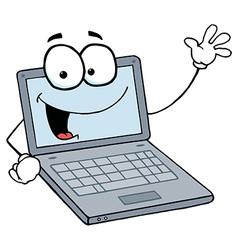 Laptop Cartoon Character Waving A Greeting vector image
