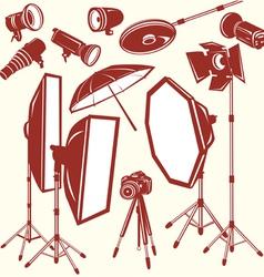 Set of photo studio equipment vector