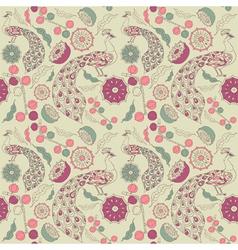 Vintage Floral Peacock pattern vector image vector image
