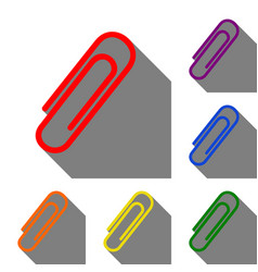 clip sign set of red orange yellow vector image
