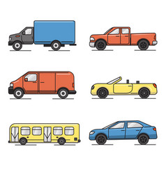 collection of colored thin line transportation vector image