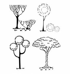 collection of silhouettes of trees vector image vector image