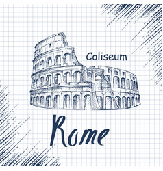 hand drawn sketch of the coliseum vector image vector image