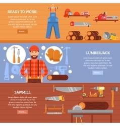 Lumberjack and sawmill horizontal banners set vector