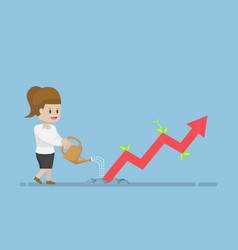businesswoman watering business graph that growth vector image