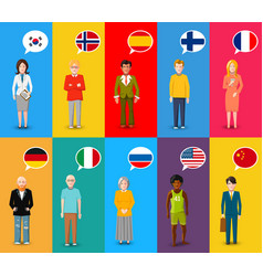 colourful characters with speech bubbles with vector image vector image