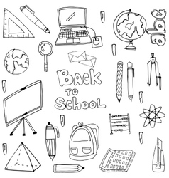Doodle of hand draw education supplies collection vector image vector image