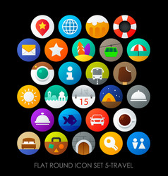 flat round icon set 5-travel vector image