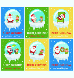 Merry christmas happy new year santa elf banners vector