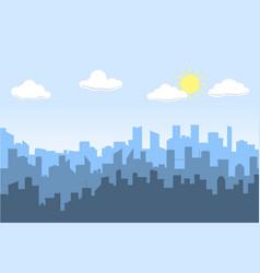 random blue city skyline on light background day vector image vector image