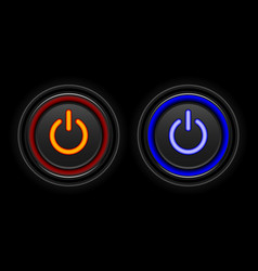 red and blue neon button icon vector image vector image