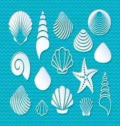 White sea shells icons vector image vector image
