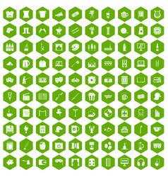 100 leisure icons hexagon green vector