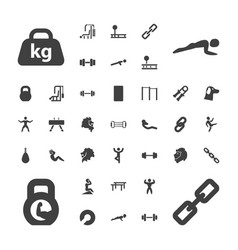37 strength icons vector