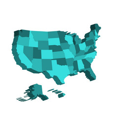 3d map of united states of america usa divided vector