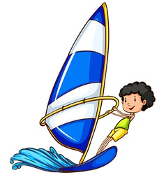 A young boy enjoying the watersport activity vector image