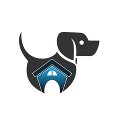 abstract dog house logo vector image